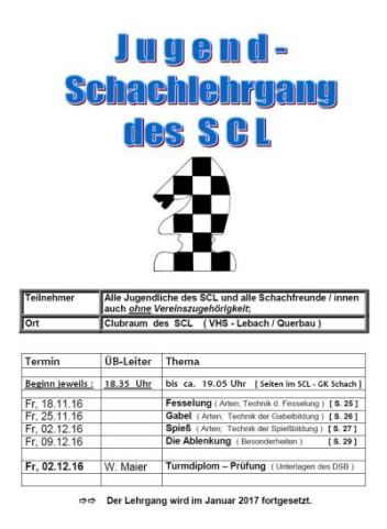 2016 Plakat Jugend Schachlehrgang SCL 20161